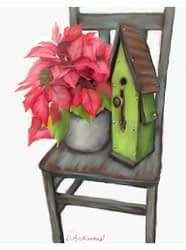 Poinsettia and Birdhouse